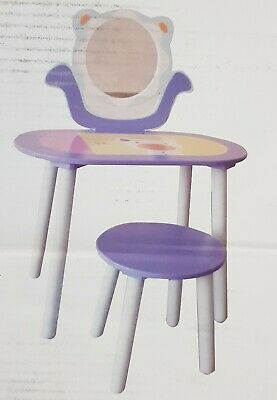 Kids Wooden Dressing Table with Stool Mirror Desk Set Purple