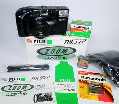 Fuji Zoom Cardia 900 Date 35mm Compact Camera Outfit - Mint in the Box - Fujinon