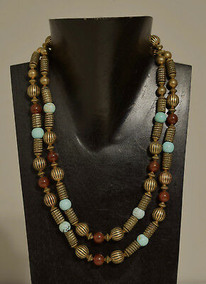 Necklace Double Strand Chinese Turquoise Carnelian Gold Beaded Necklace