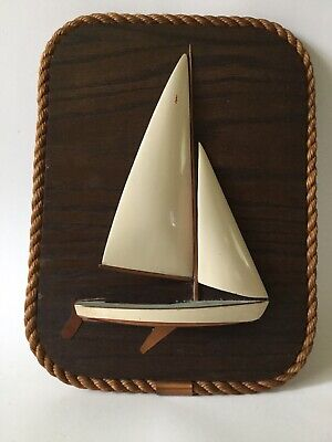 Vintage Hand Carved WOOD COPPER SAILBOAT Wall Plaque COASTAL NAUTICAL BEACH