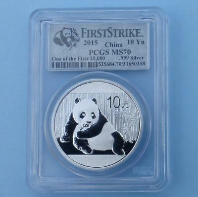2015 PCGS MS70 China Panda 1oz .999 Silver 10 Yuan, One of the 1st 25K Struck