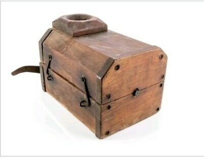 RARE ANTIQUE BLACK WALNUT TOBACCO SHREDDER. HAND HEWN.FORGED IRON. Ca late 1700s