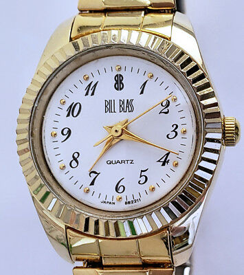 Women's Vintage Bill Blass Gold Quartz Analog Watch 24mm Fluted Bezel Stretch