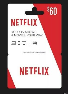 Netflix Gift Card $60 US INSTANT DELIVERY CHEAP