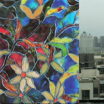 Static Cling Frosted Stained Flower Glass Home Window Film Sticker Privacy Decor