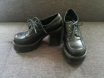 3f4dcb9be9c LEI Womens Shoes 6M Vintage 90s Heels Platform Chunky Black Loafer Goth Rave
