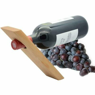 PerHouseAid Single Natural Wooden Wine Bottle Stand -Balances Wine in The Air