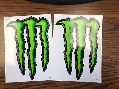 "2 New Monster Energy Sticker 6.5"" X 9"" Green M-Claw Glossy Decal On White"