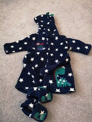 Baby Boy Dressing Gown slippers Dinosaur 0-3 Months
