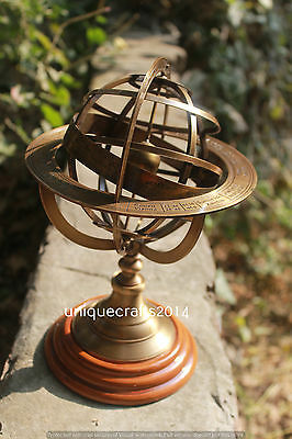 Handmade Solid Brass Table Top Armillary Nautical Home & Office Desk Decor.