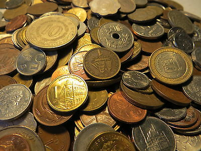 40 all different WORLD coins from a bulk charity donation of mixed coins #17