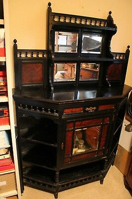 Antique Black Lacquer Late Victorian Mirrored Chiffonier Sideboard Dresser