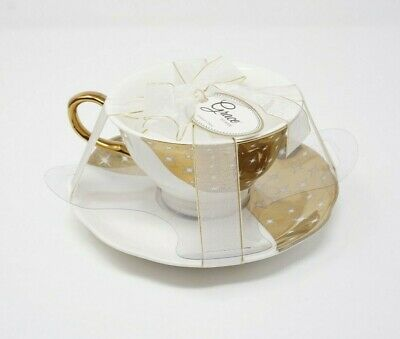 Grace Tea Ware Gold Two Tone White Stars Fine China Tea Cup & Saucer Gift Set