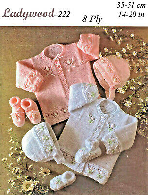 """""""COPY""""  Ladywood-222   Baby Clothes Knitting Pattern  35-51cm/14-20in  8 ply"""
