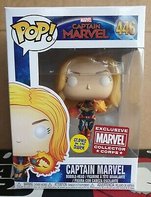 Funko Pop Vinyl - Marvel #446 Captain Marvel flying unmasked -New- MCC Exclusive