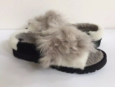 3ba76e24395 UGG AUSTRALIA PATCHWORK Fluff Slide Grey Black 1095100 Slipper Slide ...