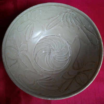 Real Old and Antique Chinese Celadon Glazed Carved Flower Large Bowl