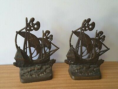 Pair Of Cast Bronze Book Ends  Spanish Ships