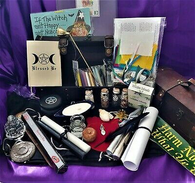 HUGE ALTAR KIT In Witches Trunk Pagan, Celtic Wicca Spells, Candles  Herbs  Oils