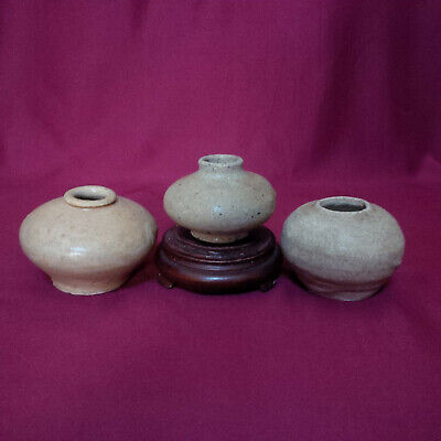 A Set of Antique Chinese Tang-Five Dynasty Light Brown Glazed Pottery Jarlet