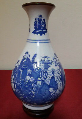 Rare Antique Chinese Imperial Blue and White Folk Pictuces Vase