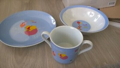 Disney Winnie The Pooh And Friends 3 Piece Dish Set - boxed - blue