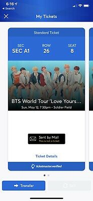 2 tickets BTS Speak Yourself Tour at Soldier Field Chicago May 12, Sec A1 FLOOR