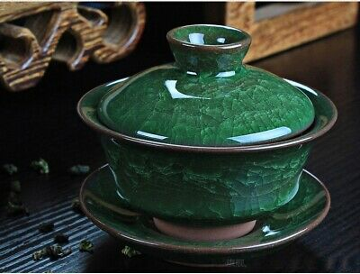 Green Coffee Tea Sets Ice Crack Ceramic Teapot Gaiwan Tea Cup Chinese Kung Fu