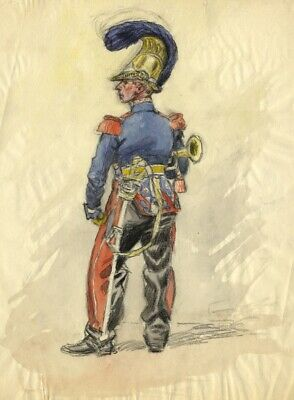 Leon Dux, French Military Officier - Early 20th-century watercolour painting