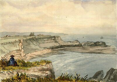 George Corson, Clifftop View towards the Abbey Whitby -1866 watercolour painting