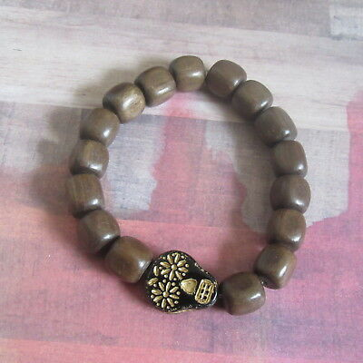 Black & Gold Skull with Flower Eyes Stetch Bracelet with Wood Beads