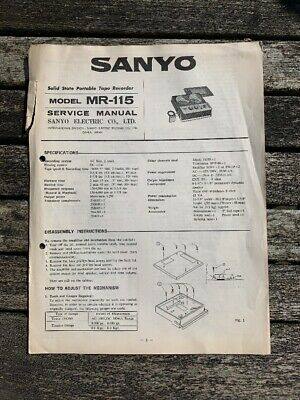 Sanyo MR 115 Reel To Reel Player Instruction Service Manual Reference Book Hifi