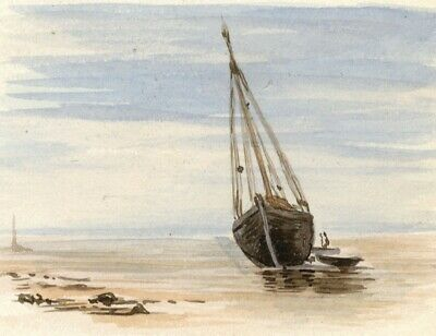 Sailboat on the Beach - Original late 19th-century watercolour painting