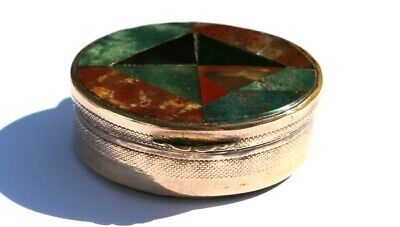 Antique Victorian Scottish Mosaic  Agate Gold Plated Pinchbeck Snuff / Pill Box