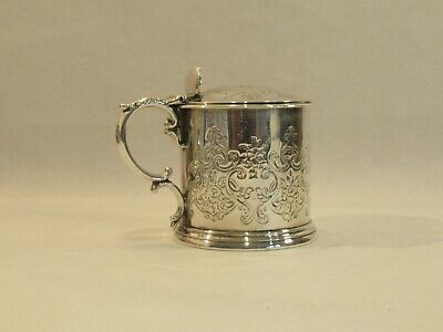 Antique Early Victorian Hallmarked 1846 Silver Mustard Pot Original Glass Liner