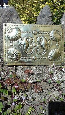 Arts and Crafts Brass Panel Plaque With Seahorses and Shells Beach Hut Bathroom