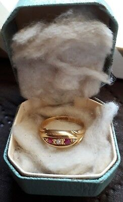 18ct Gold Antique Ruby & Diamond Ring - Dated 1914 Birmingham so 105 years old