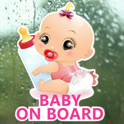 Baby Girl On Board Kids Bottle Pink Sticker Decal Child Funny Novelty Car Van