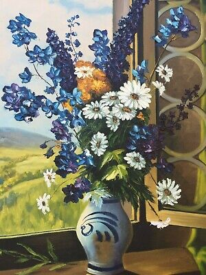 Oil Painting Still Life Floral Arrangement Flowers Countryside Artist Signed