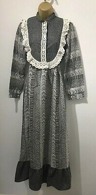 Vintage 1960's/70's Boho, Ethnic , Boho Cotton Maxi Dress , Broidiare Anglais