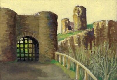 Victor Papworth, Barbican Gatehouse Scarborough - Original 1970 gouache painting