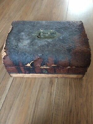 Samuel Fisher 188 strand Wooden brass And Leather antique Writing box Early 1800