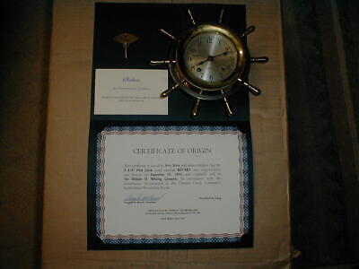 Chelsea Ship's Bell Clock with Certificate of Origin 1955