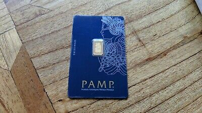 PAMP Suisse Fortuna 1g (Gram) Fine Gold Bar Bullion 9999 Serial No:C164790