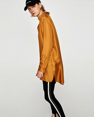 57c99c47b5bffa Zara 100% Mulberry Silk Long Flowing Oversize Shirt Blouse Pumpkin XS BNWT
