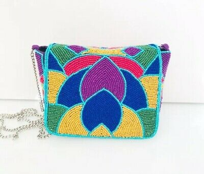 Multi Coloured Beaded Cross Body Bag Chain Strap Boho Festival Style Blogger