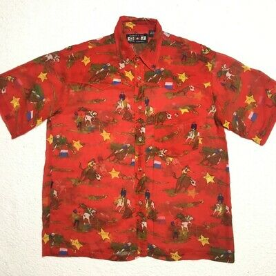 Gordon and James Vintage Western Rodeo Red Button Down Shirt Adult size Large