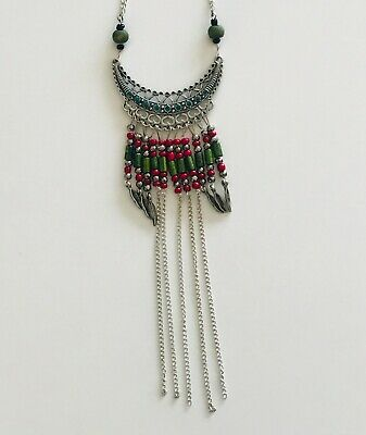 Multi-color Beaded Long Stainless Steel Women's Elegant Antique Necklace