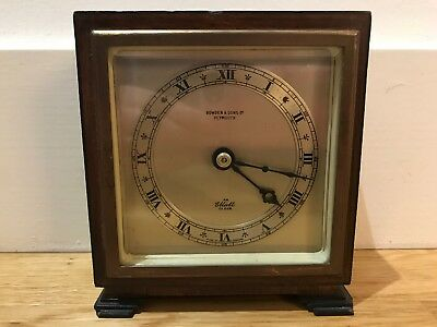 Art Deco Oak & Ebonised Elliott Mantel Clock Bowden & Sons Ltd Plymouth