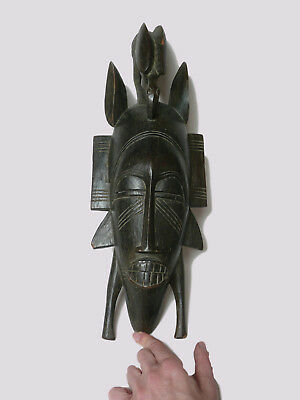 Vintage Tribal African Senufo Beautiful Lady with Bird Wood Carved Face Mask